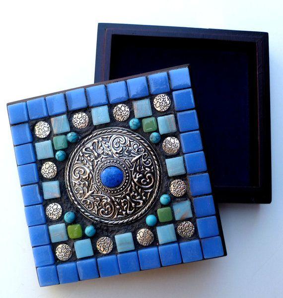 Jewelry Box mosaic blue green beadsglass tiles by SunAndCraft, $29.99