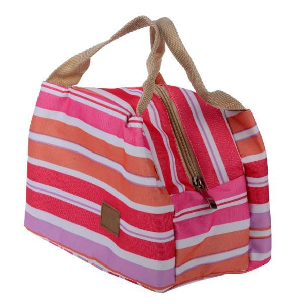 Insulated Neoprene Lunch Bag Canvas Stripe Thermal Bags Kids Baby Tote Lunchbag Picnic Lunchbox Lancheira Termica Bolsa Termica