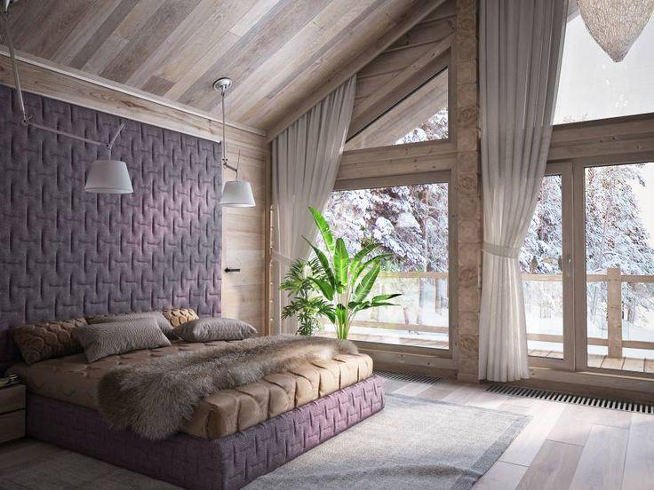 Загородный дом из бруса: Спальни в translation missing: ru.style.Спальни.minimalizm. Автор - премиум интериум
