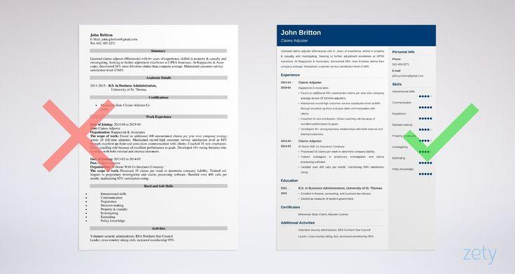 Claims insurance adjuster resume sample skills job