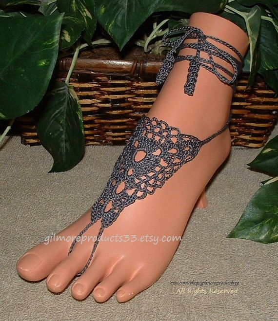 Pewter Crochet Barefoot Sandals Anklets Shoes by gilmoreproducts33
