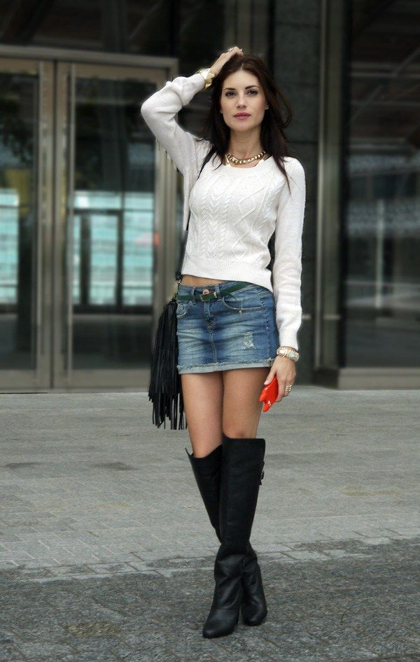 Martina Panagia wearing over the knee boots