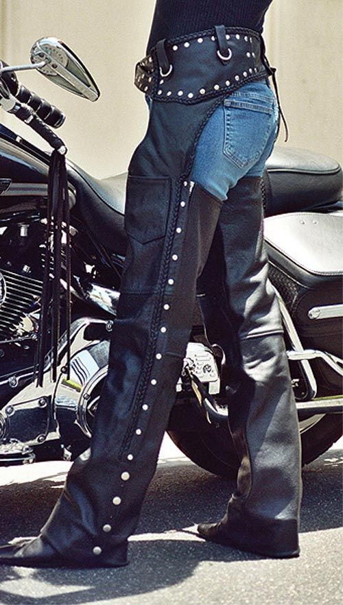 Motorcycle Black Studded Leather Biker Chaps - Basic Chaps - Leather Chaps - BaddAssChaps.com