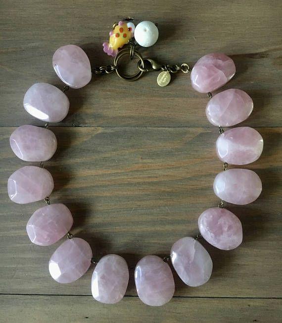 Rose Quartz choker necklace  faceted irregular rose quartz