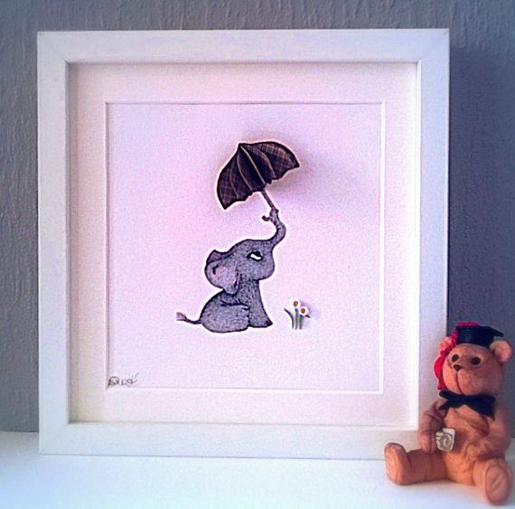 Nursery Wall Decor, Baby Elephant with Brolly, 3D Quilled Art, Nursery Art Print, Animal Picture, New Baby, Christening Gift, Framed Print