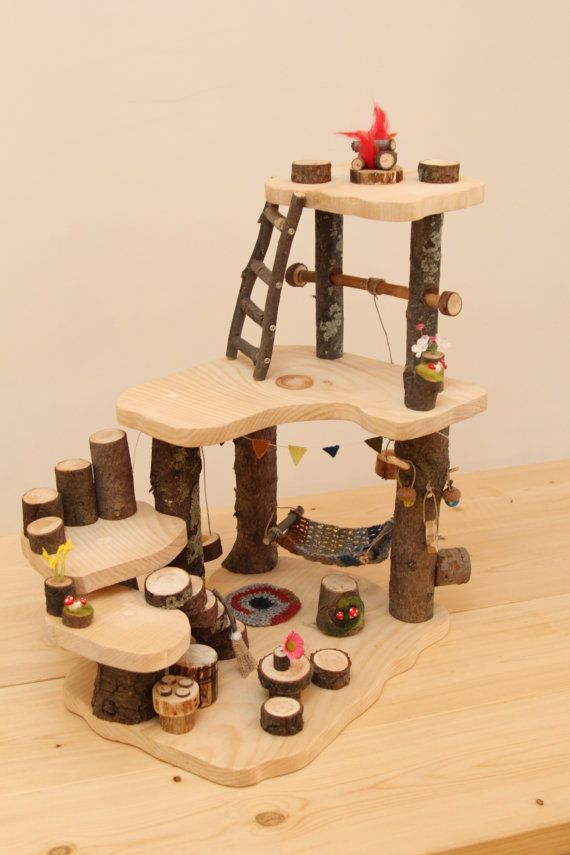 Wooden Tree House Mini. Waldorf Doll House. by FALLandFOUND