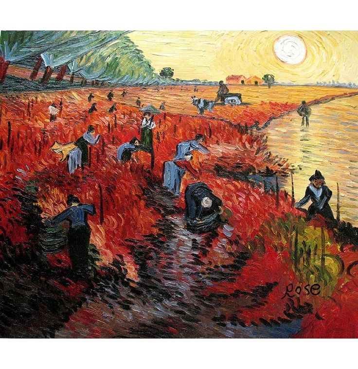 The Red Vineyard, Vincent Van Gogh, Painted near Arles in early November 1888. It supposedly is the only piece sold by the artist while he was alive. now in the Pushkin Museum of Fine Arts, Moscow