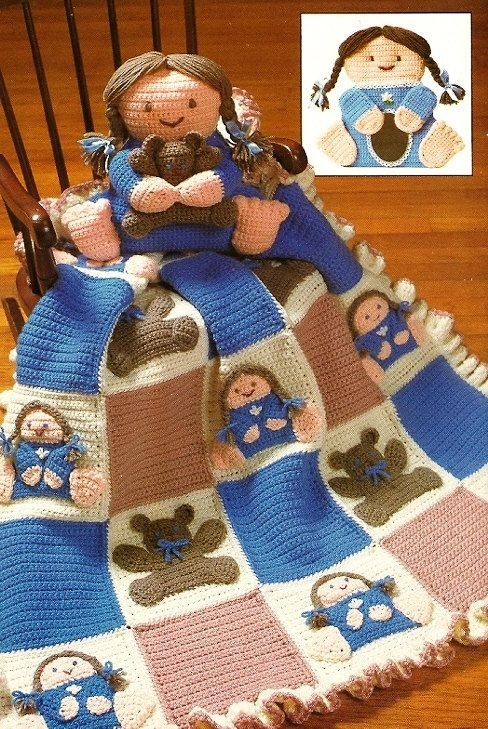 Y298 Crochet PATTERN ONLY Babies & Bears Afghan Blanket Doll Pillow Toy Pattern