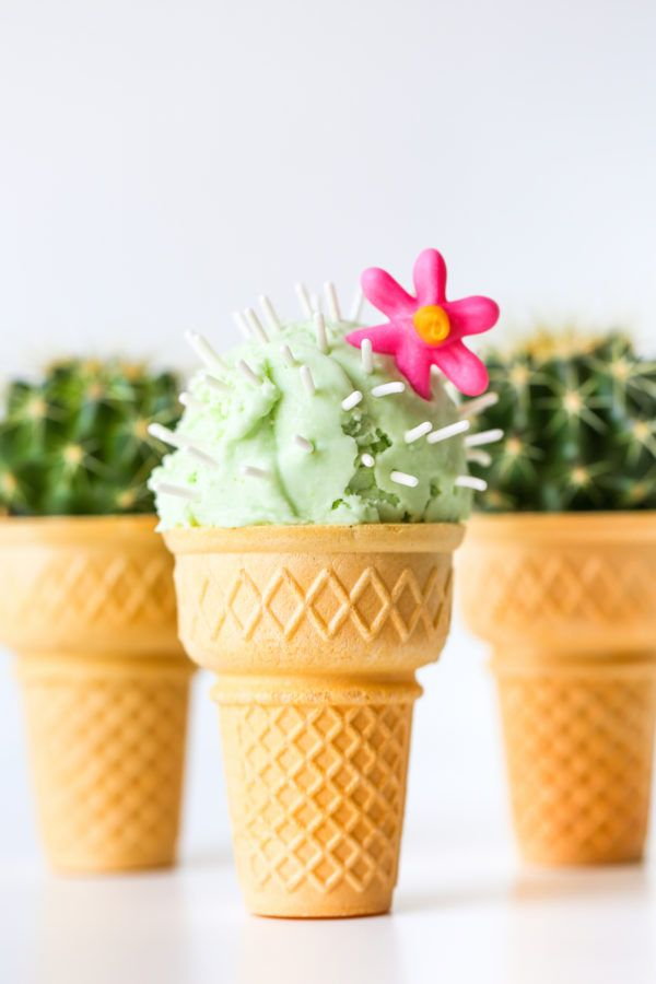 Turn an ice cream cone into a cactus ice cream cone with a few sprinkles and some flavored ice cream!