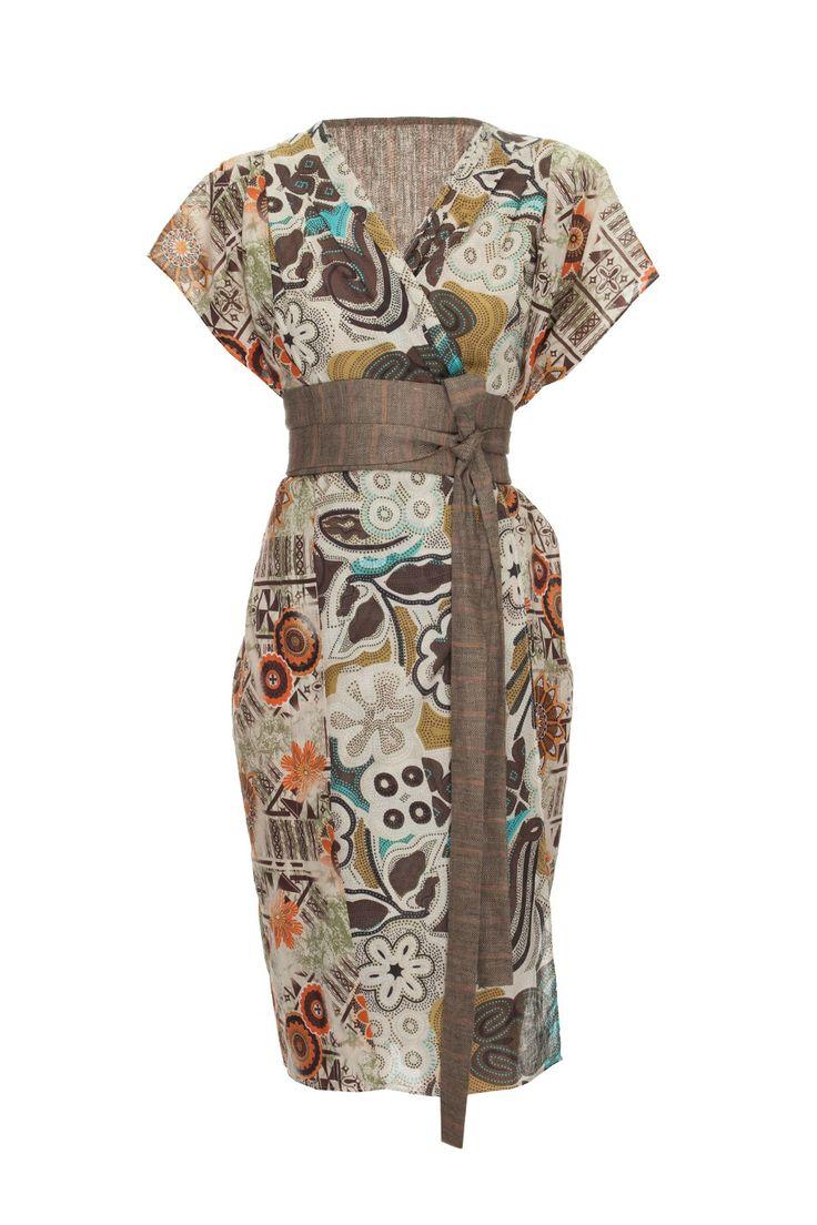 Sukienka typu kimono z lnianym paskiem multikolor