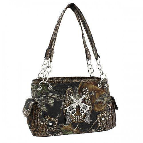 Mossy Oak® Camo Rhinestone Crossed Pistols Handbag, Leather Horsehoe – Handbag Addict.com