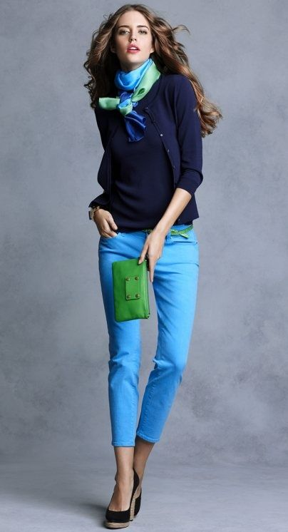 Color blocking (This look reminds me alot of you: cardigans, scarves, etc)