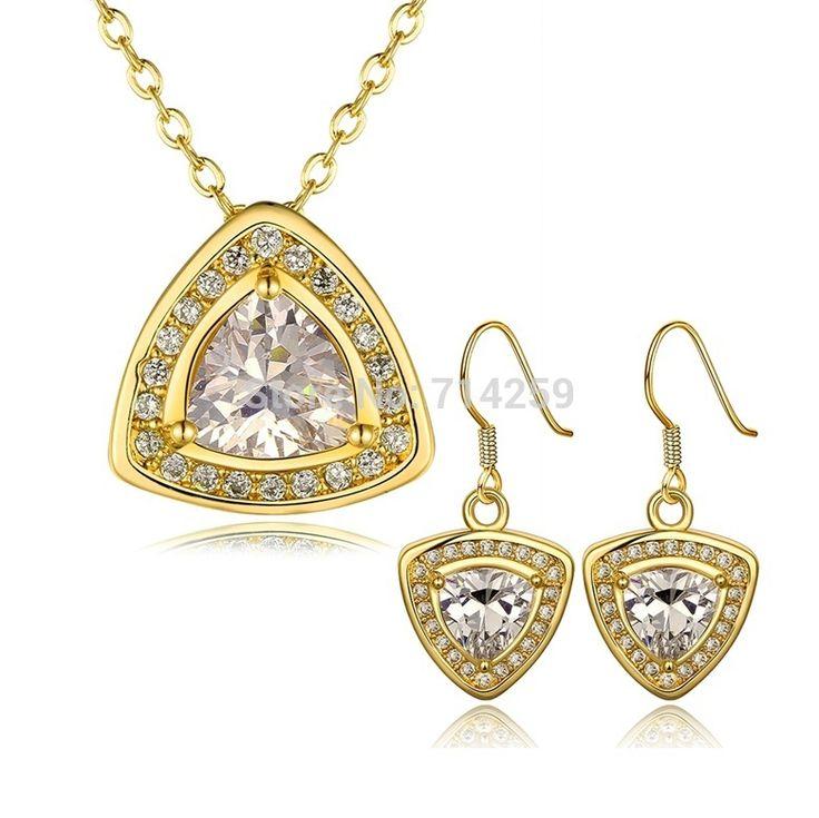 Золото / розовое золото / платиновое покрытие серьги и ожерелье ювелирные комплект KS423