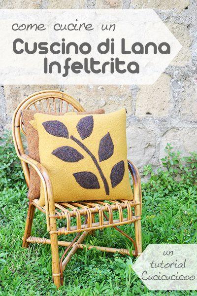 Tutorial: Come cucire un cuscino di lana infeltrita (o bollita) con applicazioni a forma di foglie da maglioni recuperate. Template per le appliqué compreso! www.cucicucicoo.com