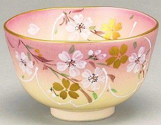 Kyoyaki tea bowl with Sakura design