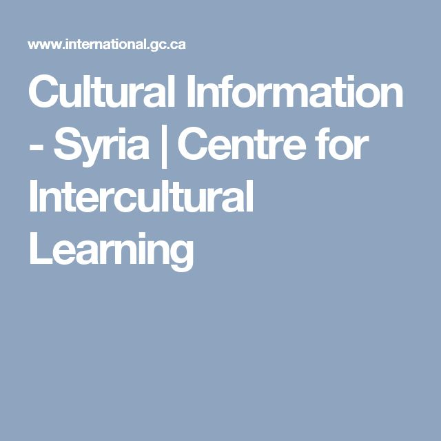 Cultural Information - Syria | Centre for Intercultural Learning
