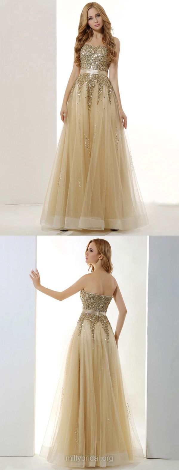 Champagne Prom Dresses Long, Yellow Prom Dresses 2018, A-line Prom Dresses Sweetheart, Tulle Prom Dresses with Sashes / Ribbons Modest