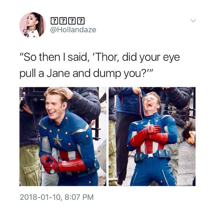 "Ouch. Caps cruel new sense of humor is gonna ""pull a Jane"" once Thor pulverizes him into a nice Cap-shaped puddle for that joke!!"