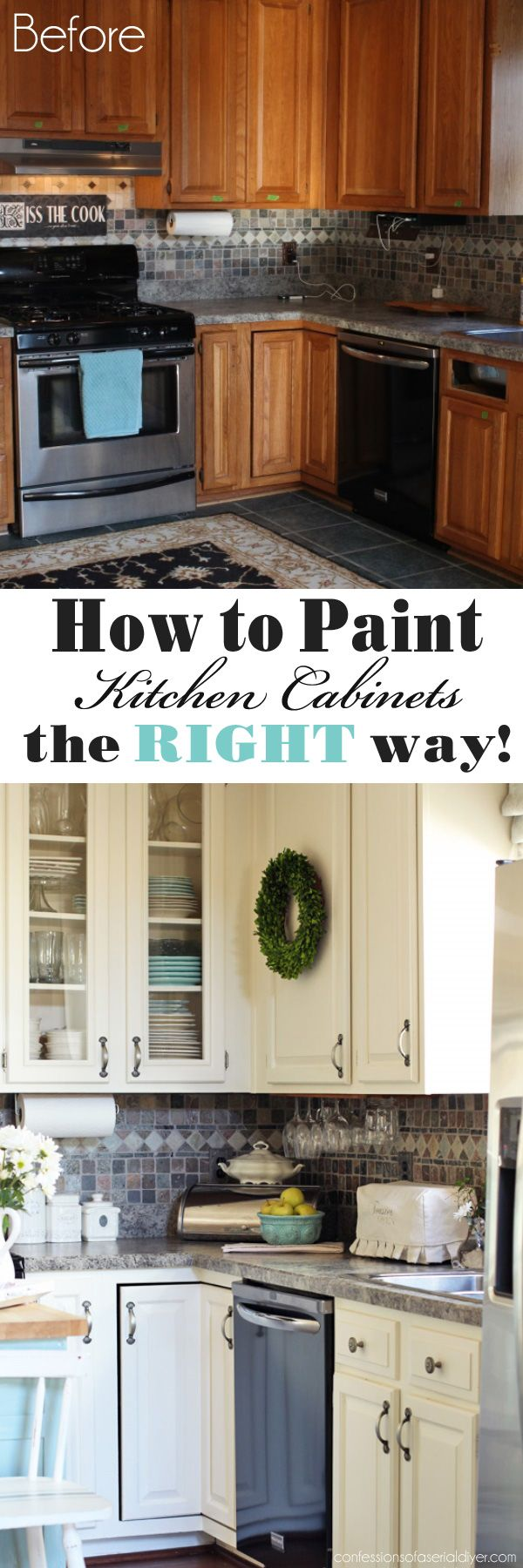 how to paint kitchen cabinets the right way from confessions of a serial do it - Pinterest New Home Ideas