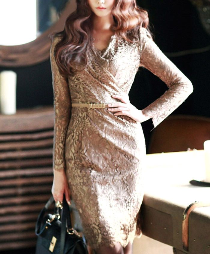 Vneck Long sleeve Floral Lace dress with Belt Evening Cocktail Party Dress S/M/L #nobrand #LaceDress #Formal