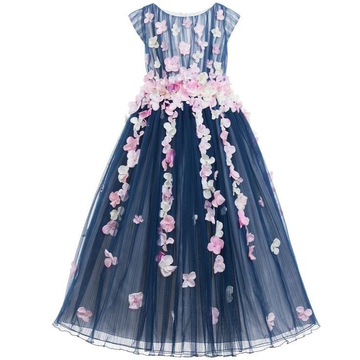 Lesy Navy Blue Full Length Tulle Dress with Flowers at Childrensalon.com