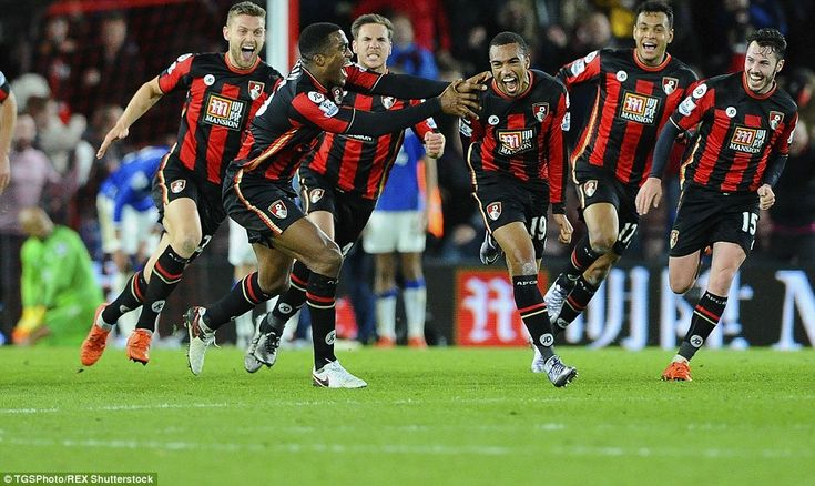 Nov. 28th. 2015: Stanislas is congratulated by his  joyous team-mates after struggling Bournemouth sealed an important point after coming from two goals down against Everton