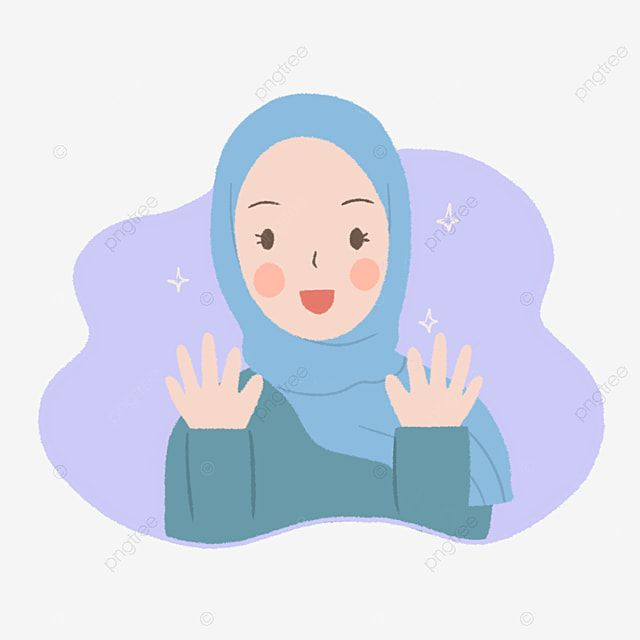 Cute Girl In Blue Hijab Say Hi Illustration In Hand Drawn Style Girl Clipart Simple Illustration Cute Png Transparent Clipart Image And Psd File For Free Dow Girls Cartoon Art Islamic