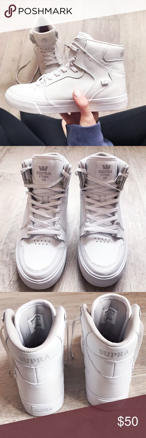 SUPRA High tops from Zumiez✔️ Street style savvy!!✔️white leather SUPRA FTWR CO High tops! Red designer insoles✔️ red designer bottom soles✔️lace up front✔️1' leather bottom sole✔️sneaker height 5 1/2'. These are a kids US 6. Women's 7.5. Worn for a split second look amazing! Right shoelace looks as though it might be a bit discolored! No biggie can hardly see unless you point it out! Offers are welcome✌no trades thank you! Supra Shoes Sneakers