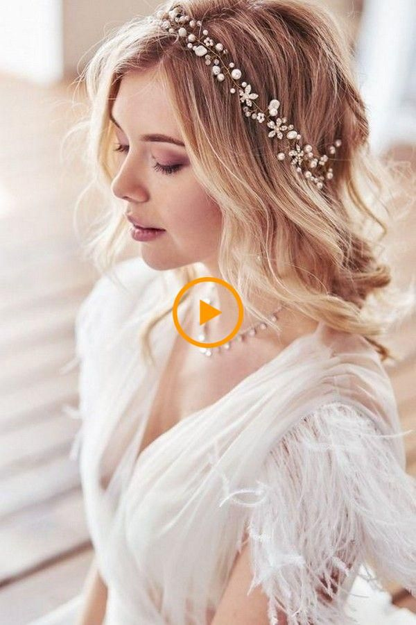 Ideas bonitas para peinados novias 2021 Fotos de las tendencias de color de pelo - 20 peinados de novia de longitud media para novias 2019 ...