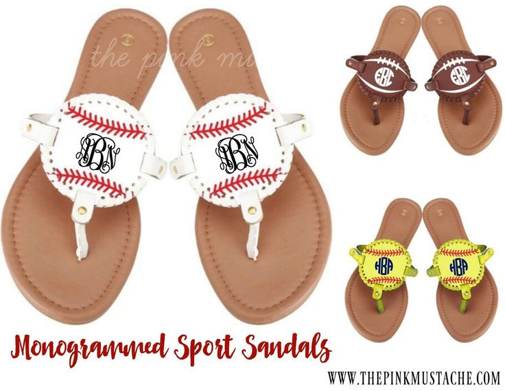 Monogrammed Sports Sandals - Baseball, Softball, Football, Soccer