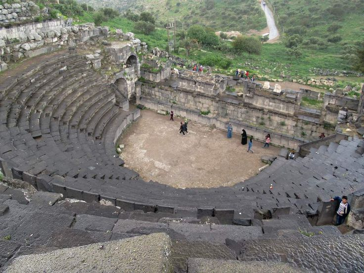 The 3,000-seat West Theater in the ancient Roman city of Umm Qays (Gadara) in northern Jordan is made from black basalt stone.