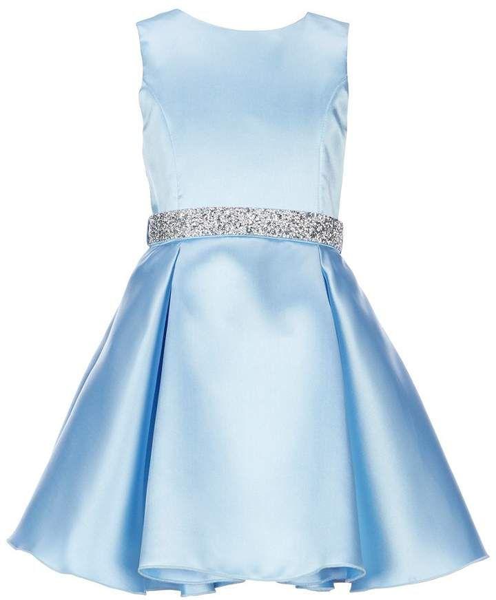 b40a51c3fd2 Zoe Big Girls 7-16 Solid Embellished-Waist Dress   embellished crystal removable