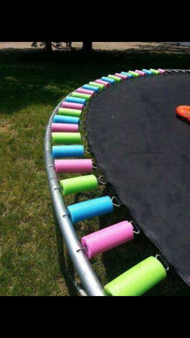Trampoline spring covers using cut pool noodles or foam noodles -  genius idea :)