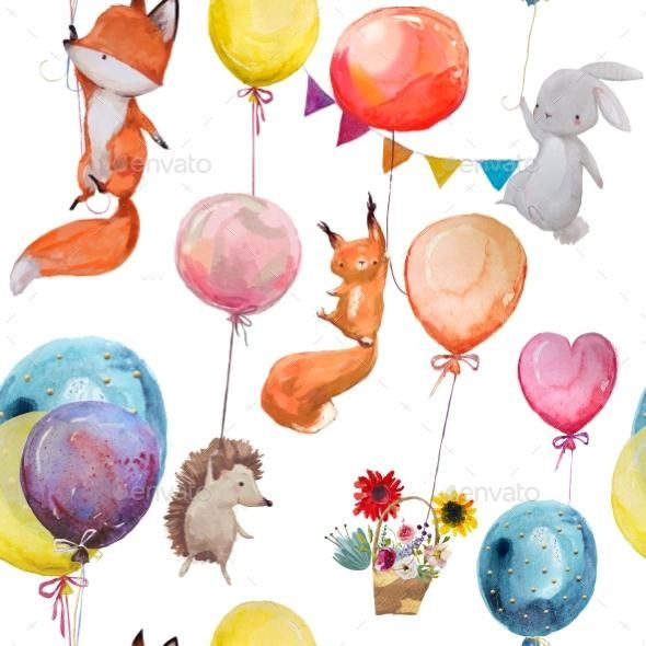 Seamless Pattern With Animals With Balloons Balloon Illustration Balloon Animals Animal Illustration