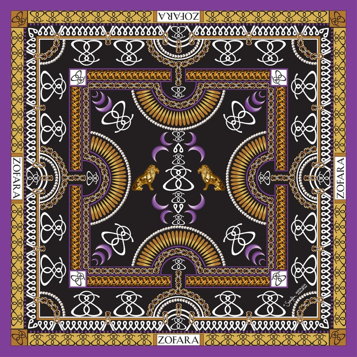"""Moonlight Beauty"" Silk chiffon scarf in Black. (Pre-order-available now) Email enquiries@zofara.com Size: 94x94cm  www.zofara.com  © Sophie Robson Zofara® 2012 Australia"
