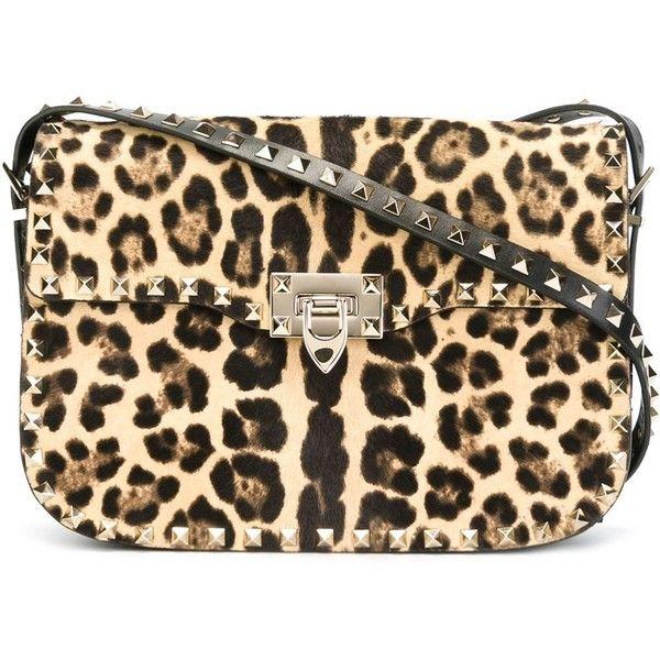 Valentino Garavani 'Rockstud' shoulder bag (£2,425) ❤ liked on Polyvore featuring bags, handbags, shoulder bags, leopard handbag, valentino handbag, brown purse, brown handbags and embellished handbags