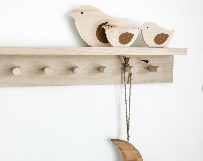 Wooden Peg Rail Shaker Rack Wall