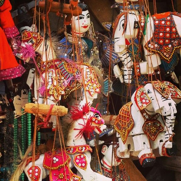 Colorful myanmar puppets
