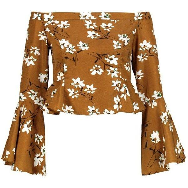 Boohoo Petite Annie Multi Floral Flute Sleeve Bardot Top ($34) ❤ liked on Polyvore featuring tops, flower print top, brown top, boohoo tops, floral tops and floral print tops