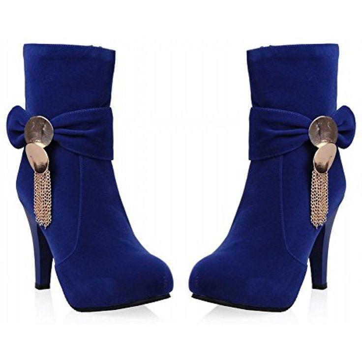 Women's Elegant Bow Chains Zipper High Heel Spring Fall Mid-top Dress Boots