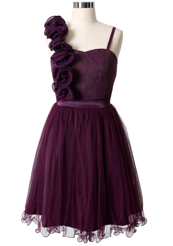 3D Flower Fluted Hemline Tulle Dress in Violet