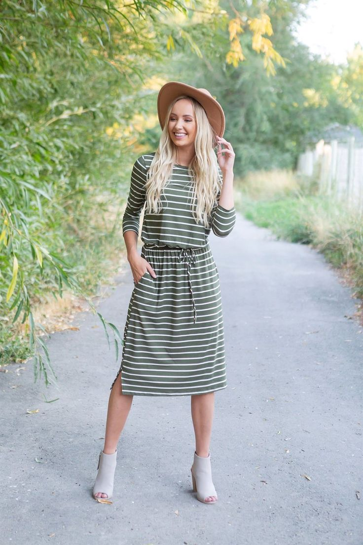 Striped Drawstring Midi