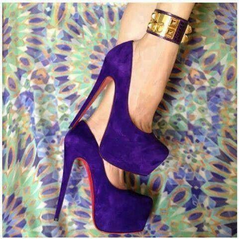 Zapatos De Tacon Corrido Morados