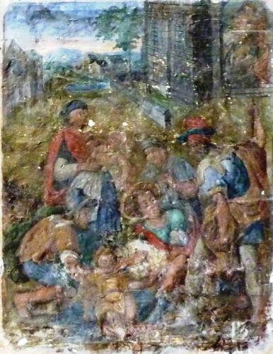 Le treizième tableau se situe aussi à l'extérieur. Deux hommes, dont l'un a les jambes nues, soutiennent un petit enfant mort, un troisième montre du doigt l'église qui est au fond. Un homme avec un manteau rouge et un chapeau tient un enfant inerte dans ses bras. Est-il le saint patron de l'enfant ? A côté, un jeune homme. Guillemain voit dans cette scène un enfant tombé dans une fosse de tanneur, que les ouvriers ont retiré tandis que l'un d'eux suggère de porter le petit corps à l'église.