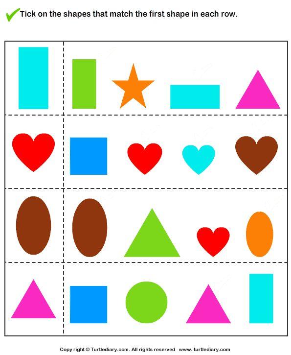 Preschool Worksheets Matching Similars : Best images about pre k shape worksheets crafts on