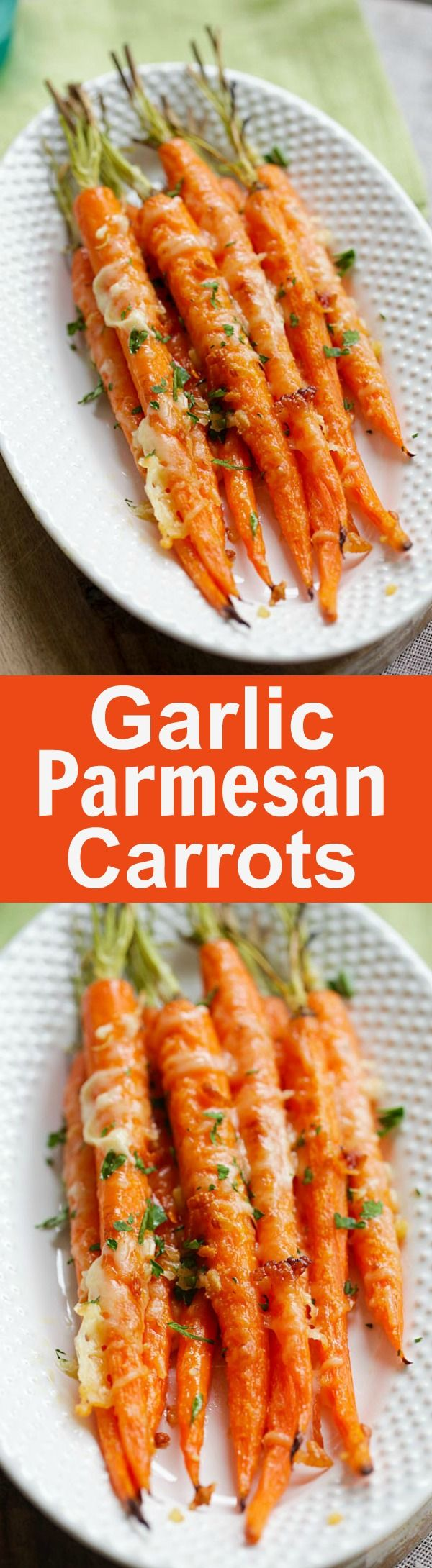 Garlic Parmesan Roasted Carrots – Oven roasted carrots with butter, garlic and Parmesan cheese. The easiest and most delicious side dish ever | rasamalaysia.com