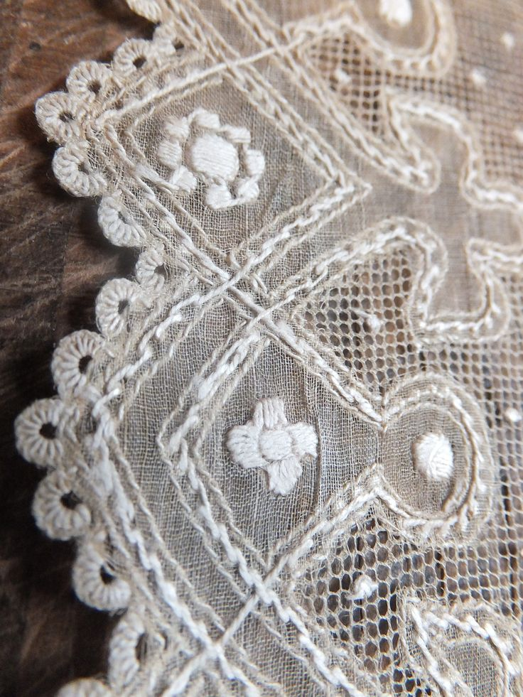 For sale at Poppies Cottage now - a superbly embroidered pina cloth kerchief - 19th Century