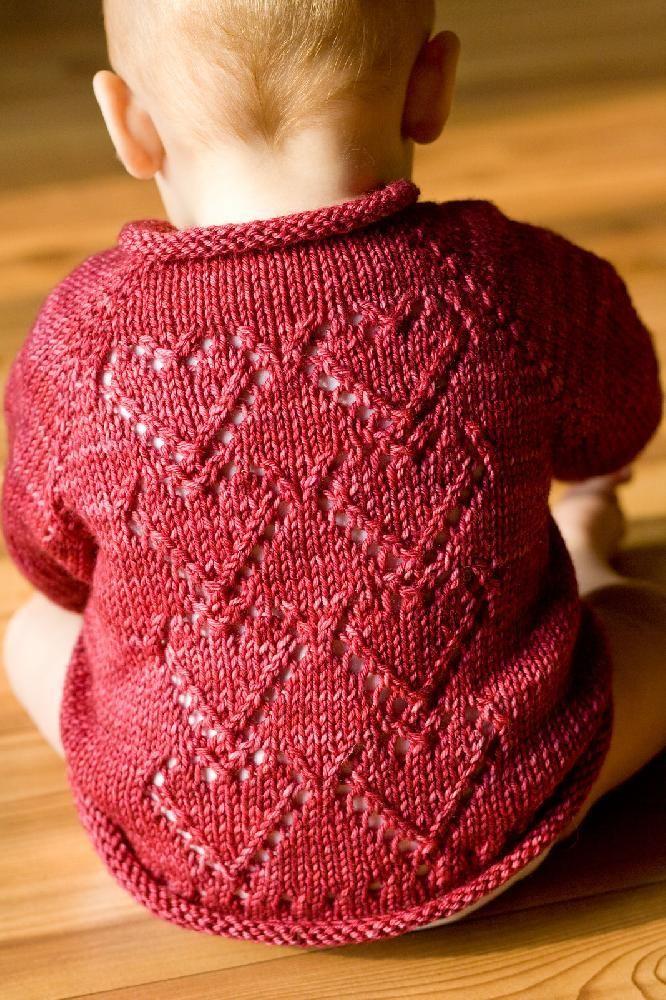 Cupid heart baby cardigan knitting pattern by Melissa Schaschwary on LoveKnitting