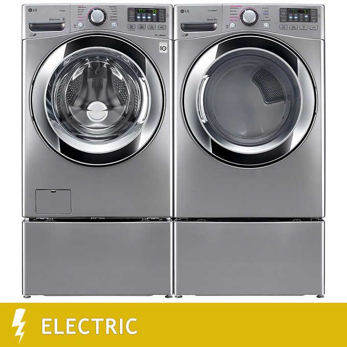 LG 4.5CuFt Ultra Large Capacity Washer with Steam Technology 7.4CuFt Ultra Large Capacity ELECTRIC SteamDryer in Graphite Steel