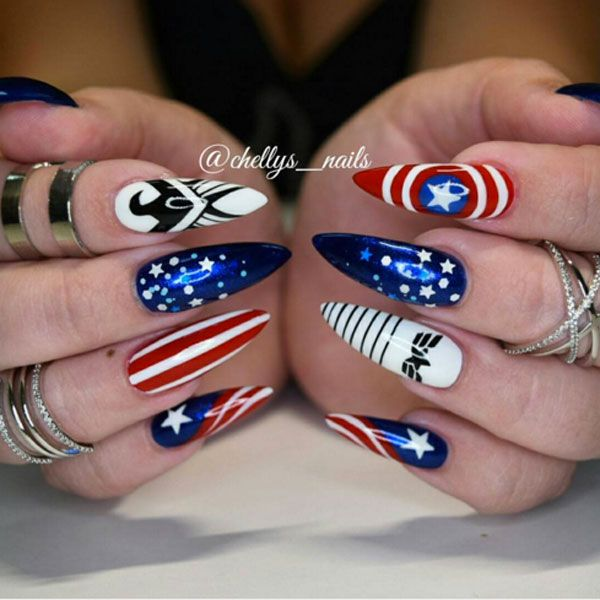 Where does your allegiance lie? If Captain America is your hero, you'll love this fan nail art design by @chellys_nails.